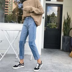 ▪Fancyy outfits▪ Buy CosmoCorner Two-Tone Straight-Cut Cropped Jeans Mode Outfits, Jean Outfits, Fashion Outfits, Fall Fashion, Jeans Fashion, Cheap Fashion, Work Fashion, Trendy Fashion, Fashion Women
