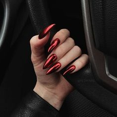 42 Charming red Nail Art Designs To Try This summer nails; Perfect Nails, Gorgeous Nails, Cute Nails, Pretty Nails, Hair And Nails, My Nails, Glitter Nails, Maquillage Halloween Simple, Red Nail Art