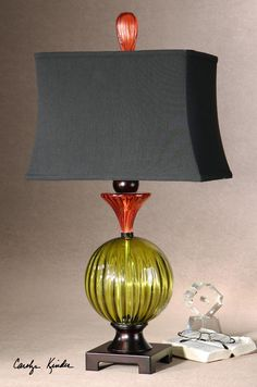 Iris lamp: green and red glass with bronzed metal detail.