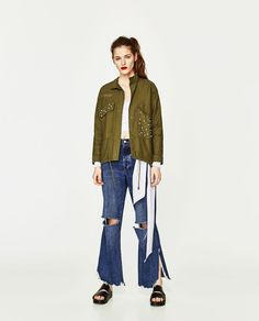 ZARA - TRF - OVERSHIRT WITH PEARLY DETAILS