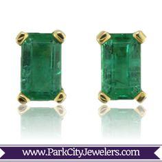 Emerald Cut Emerald Stud Earrings  14K Yellow Gold .60ctw Emerald Earrings
