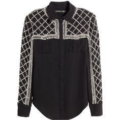 Pre-owned Balmain X H&m Top Black (2.125 HRK) ❤ liked on Polyvore featuring tops, blouses, black, black blouse, rhinestone tops, black beaded top, beaded blouse and black top