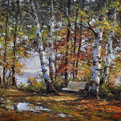Painting by Emil Ciubotaru Landscape Art Quilts, Watercolor Landscape, Landscape Paintings, Beautiful Paintings, Beautiful Landscapes, Landscape Pictures, Tree Art, Art Oil, Art Pictures