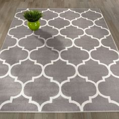 """AmazonSmile: Sweethome King Collection Grey Moroccan Trellis Design (5'3"""" X 7'0"""") Area Rug: Kitchen & Dining"""