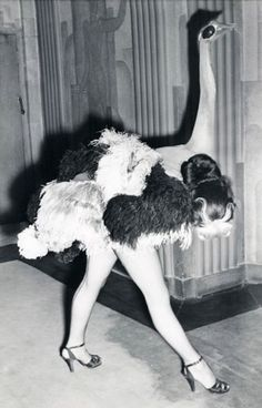 "A 1951 ""Ostrich"" dancer in the Folies Bergere show at the London Hippodrome"