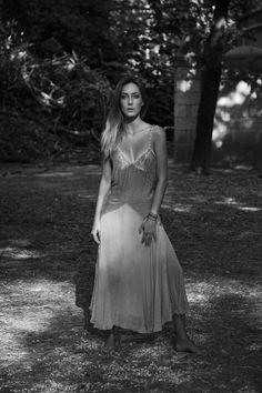 Black & White Photography - Cristel Carrisi wearing a Chloè dress
