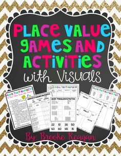 Place value is a MUST when you are teaching math and number sense. My students range in ability and understanding of numbers and place value. These games and activities are meant for different range and skill levels of students 1st- 5th grade. I created them to use with my special education students, however they could be used with general education students as well!