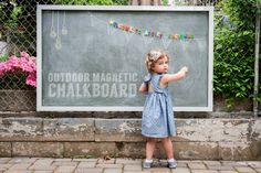 Here's how to make your own outdoor chalkboard paint to make a fun magnetic chalkboard your kids can play on or you can use for a BBQ Menu or photo backdrop at your next party Outdoor Chalkboard, Magnetic Chalkboard, Chalkboard Paint, Chalkboard Drawings, Chalkboard Lettering, Chalkboard Ideas, Outdoor Play, Outdoor Spaces, Outdoor Living