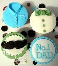 cupcakes for dad Fathers Day Cupcakes, Cupcakes For Men, Fathers Day Cake, Cute Cupcakes, Green Cupcakes, Fondant Toppers, Fondant Cupcakes, Baking Cupcakes, Cupcake Cookies