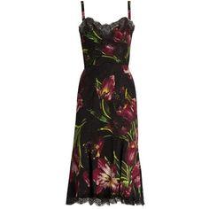 Dolce & Gabbana Tulip-print silk-blend charmeuse midi dress ($3,495) ❤ liked on Polyvore featuring dresses, burgundy multi, holiday dresses, tulip dress, stretch dress, stretch cocktail dress and midi dress