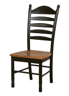 Madison Park Hardwood Ladderback Dining Chair - 2 Pack (Black & Cherry)