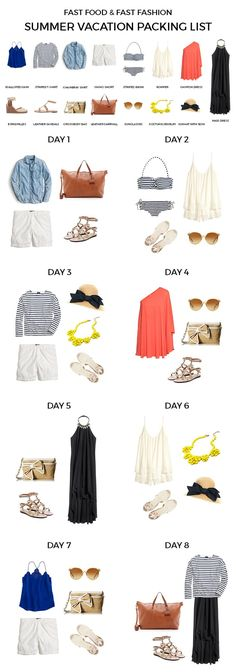 Ideas For Holiday Packing Summer Capsule Wardrobe Summer Vacation Packing, Mexico Vacation, Cruise Packing, Packing Light Summer, Vegas Packing, Travel Clothes Summer, Travel Wardrobe Summer, Capsule Wardrobe Summer, Mexico Trips