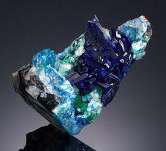 Minerals:Small Cabinet, LINARITE. Sunshine No. 1 Adit, Blanchard Mine, Bingham,Hansonburg Dist., Socorro Co., New Mexico, USA. ...