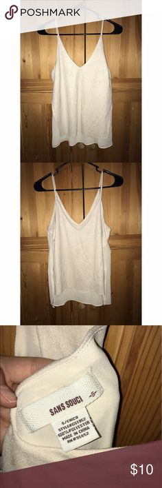 Faux Suede Tank Faux suede tank. Only worn once for a party. Tan colored and size small. Sans Souci Tops Tank Tops
