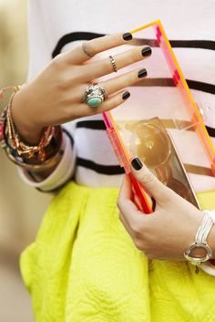 All of my favorites in one look....stripes, dark nails, rings, bangles, stripes and a clutch !