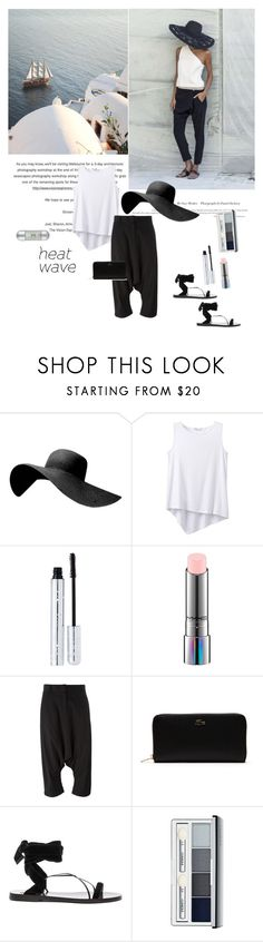 """""""How to Dress for a Heat Wave"""" by dezaval ❤ liked on Polyvore featuring prAna, 100% Pure, MAC Cosmetics, Antonio Marras, Lacoste, Valentino, Clinique and Carolina Herrera"""