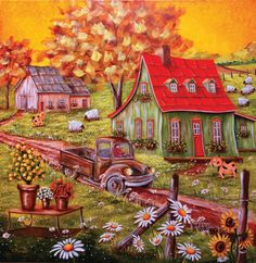 Christine Genest – Artiste peintre Storybook Cottage, Cottage Art, Art And Illustration, Z Arts, Country Art, Watercolor Sketch, Naive Art, Home Art, Painting & Drawing