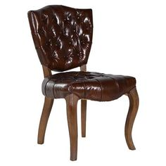 ACHICA | Hilton Leather Chair with Button Back Detail, Brown