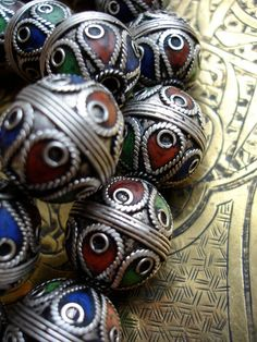 Enamel and silver Moroccan Berber beads ....very cool...