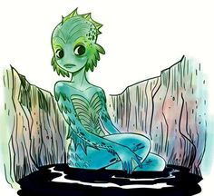 The Creature from the Black Lagoon by Florealpolla for Inktober and @Sketch_Dailies