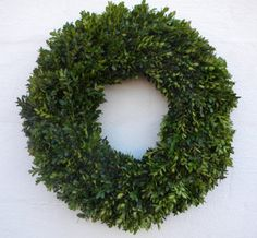This boxwood wreath is made with fresh English boxwood. Unlike some greenery, boxwood does not drop leaves or needles as it dries. It will stay Fresh Wreath, Lemon Wreath, Summer Door Wreaths, Holiday Wreaths, Holiday Decor, Christmas Decor, English Boxwood, Buxus, White Wreath