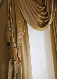 Victorian style window treatments in bronze satin fabric with tassels and swags - traditional - curtains - san francisco - Stitch Custom Furnishings
