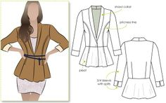 Peplum style knit jacket with princess line and shawl collar