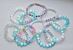 Design your own photo charms compatible with your pandora bracelets. TWO CUSTOM bracelets cute kawaii beaded pastel beautiful shiny handmade rainbow word fairy kei cool letters Letter Bead Bracelets, Rave Bracelets, Pony Bead Bracelets, Summer Bracelets, Friendship Bracelets, Word Bracelets, Festival Bracelets, Pearl Bracelets, Pony Beads