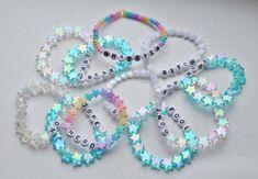 TWO CUSTOM bracelets cute kawaii beaded pastel beautiful shiny handmade rainbow word  fairy kei cool letters