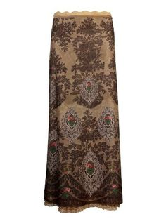Michal Negrin Cream Chiffon Lycra Maxi Skirt Outfitted with Swarovski Crystals Accented Victorian Floral and Embroidery Like Pattern and Lining Lace Trim Michal Negrin. $720.00