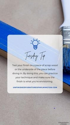 TUESDAY TIP: Do a Test Run Before diving straight in to finishing a piece, test it out on the underside or on scrap wood. You can make sure you like the finish and practice your technique before finishing the entire piece and not liking it. If you're staining, make sure you test on the same type of wood as the piece is. Like and follow for more tips! #TuesdayTip #Furniture #Wood #DIY #UnfinishedFurnitureofWilmington Unfinished Furniture, Wood Furniture, Oil Based Stain, T Set, Create A Family, Raw Wood, Types Of Wood, Natural Wood, Diving