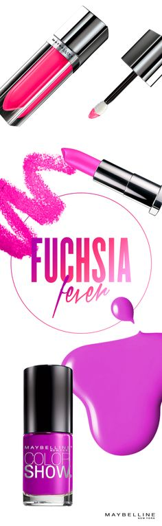 Fuschsia fever, a pop of color to perfect your summer look from color sensational lipstick to nail lacquer.  Only way to beat the heat is match it with fuchsia.