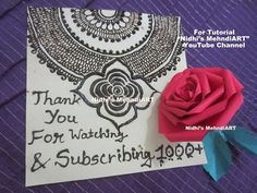 YouTube #henna #mehndi #design #inspired #greeting #thank #you #card for youtube subscribers and viewers