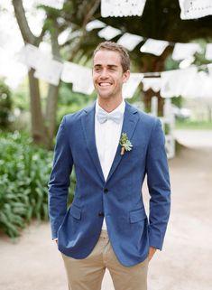 Wedding Suits Blue blazer with Khaki Chinos. Khaki Wedding, Blue Suit Wedding, Wedding Men, Wedding Suits, Mens Casual Wedding Attire, Summer Wedding, Wedding Ideas, Casual Groom Attire, Men Fashion