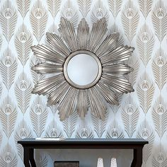 Peacock Feather allover stencil pattern. Easy DIY wall decor for a great price!