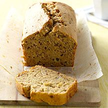 Weight Watchers banana bread 1 x 3 second spray(s) oil spray    2 cup(s) plain flour    6 g baking powder, (2 tsp)      1/2 tsp ground cinnamon    6 tbs Canola Spread    1/2 cup(s) brown sugar    1/4 cup(s) artificial sweetener powder    1 tsp vanilla bean extract      2 small egg(s), lightly beaten      3 small banana, (ripe), well mashed    1/2 cup(s) extra light sour cream