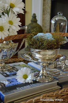 Daisies and Silver…A Coffee Table Vignette