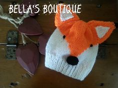 Handmade Knitted Baby Fox Hat by BellasBabysBoutique on Etsy