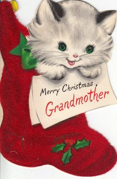 Vintage Greeting Card Christmas Cat Die Cut Flocked Stocking Hallmark i908