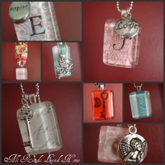 At Home With K: Be Mine Bonanza: Day 5-Pendant Glass Valentine Necklaces