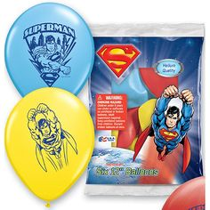 """Superman Printed Latex (includes 6 pcs of 11"""" latex balloons in a pack; comes in assorted colors)"""