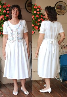 Vintage cotton 80s dress embroidered attached vest by YustaWas, $28.00