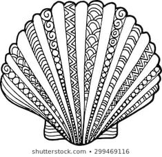 Seashell drawing decorated with abstract … Hand drawn outline shell illustration. Seashell drawing decorated with abstract ornaments Seashell Painting, Seashell Art, Dot Painting, Mandala Art, Mandala Drawing, Zantangle Art, Shell Drawing, Zentangle Drawings, Zentangles