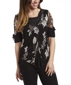 Look at this Simply Irresistible Black & Brown Floral Layered Top on #zulily today!