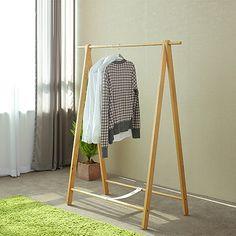 Nordic creative indoor floor hangers single rod racks simple white oak wood coat rack drying racks