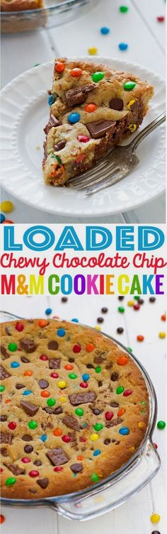 MM loaded chewy chocolate chip cookie cake recipe thats perfect to serve for birthdays! Cookie cake is soft in the center with a chewy, crunchy crust. M&m Cookie Cake Recipe, Cake Cookies, Cupcake Cakes, Baking Cookies, Super Cookies, Sandwich Cookies, Shortbread Cookies, Kid Cakes, Cookie Pie