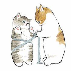 Cute Cat Drawing, Cute Animal Drawings, Kawaii Drawings, Cute Drawings, Dibujos Cute, Cute Doodles, Cute Illustration, Crazy Cats, Cat Art