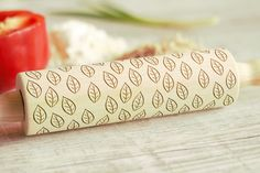 Wooden Engraved Rolling Pin SMALL LEAVES Pattern Unique Personalized