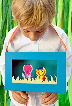 Kids' Craft: Traveling Under Water Octopus Amphitheater cereal box craft puppet showKids' Craft: Traveling Under Water Octopus Amphitheater -used idea to make puppet theaters to tell story of Pilgrim's ProgressDIY Recycled Traveling Under Water Octop Kids Crafts, Projects For Kids, Diy For Kids, Craft Projects, Recycled Crafts Kids, Easy Crafts, Craft Activities, Activity Ideas, Puppets