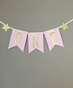 1st Birthday Highchair Banner, One Highchair Banner,First Birthday Decorations,Pink and Gold Party Decorations,Twinkle Twinkle Little Star